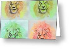 Lion X 4  Greeting Card
