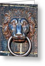 Lions Head Knocker Greeting Card