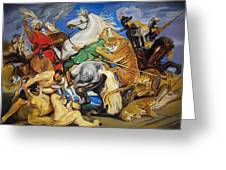 Lions Tigers And Leopard Hunt Homage To Rubens Greeting Card