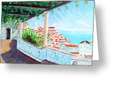 Lisbon Alfama With Atlantic Ocean Greeting Card