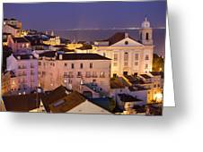 Lisbon At Night In Portugal Greeting Card