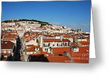 Lisbon Cityscape With Sao Jorge Castle And Cathedral Greeting Card