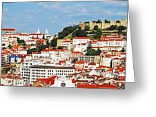 Lisbon Cityscape With Sao Jorge Castle Greeting Card