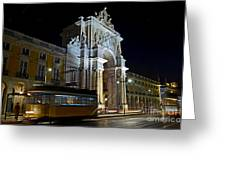 Lisbon - Portugal - Street Cars At Praca Do Comercio Or Terreiro Greeting Card