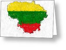 Lithuania Painted Flag Map Greeting Card
