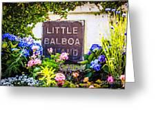 Little Balboa Island Sign In Newport Beach California Greeting Card