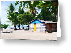 Little Beach Shack Under The Palms Greeting Card