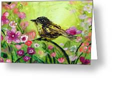 Little Bird In Green Greeting Card