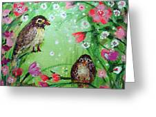 Little Birdies In Green Greeting Card