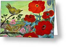 Little Birds And Poppies Greeting Card