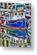 Little Blue Boat Hdr Greeting Card