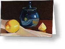 Little Blue Pot And Lemons Still Life Greeting Card