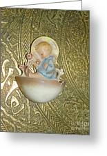 Newborn Boy In The Baptismal Font Sculpture Greeting Card