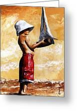 Little Boy In The Beach Greeting Card