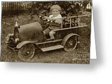 Little Boy In Toy Fire Engine Circa 1920 Greeting Card