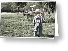 Little Boy On Farm Greeting Card