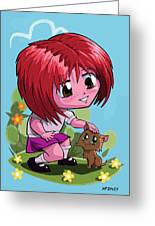 Little Cartoon Manga Girl Stroking Pet Cat Greeting Card