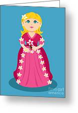 Little Cartoon Princess With Flowers Greeting Card
