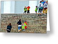 Little Children Climbing Steps Of Lutheran Cathedral Of Helsinki-finland Greeting Card