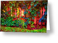 Little Country Scene Pink Flowers Climbing Leaves On Wood Fence Colors Of Quebec Art Carole Spandau Greeting Card