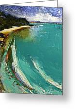 Little Cove Noosa Heads Abstract Palette Knife Seascape Painting Greeting Card