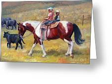 Little Cowboys Of Ruby Valley Western Art Cowboy Painting Greeting Card