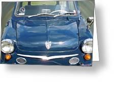 Little Cute  Blue Vintage Princess Austin Car  Greeting Card