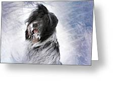 Little Doggie In A Snowstorm Greeting Card