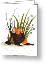 Little Fox Sitting In Forest Behind The Greeting Card