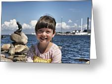 Little Girl By The Little Mermaid Greeting Card