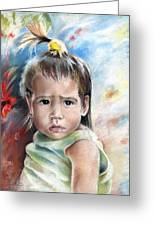 Little Girl From Tahiti Greeting Card