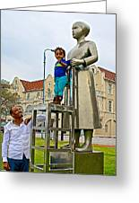 Little Girl Gets Close To Woman Sculpture In Donkin Reserve In Port Elizabeth-south Africa Greeting Card
