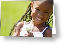 Little Girl Holding Weeds Greeting Card