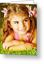 Little Girl On Green Grass Greeting Card