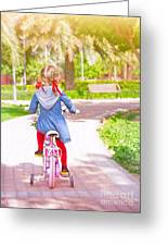 Little Girl On The Bicycle Greeting Card