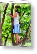 Little Girl Playing In Tree Greeting Card