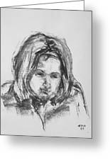 Little Girl With Hairband Greeting Card