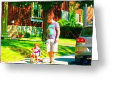 Little Girls First Bike Lesson With Dad Beautiful Tree Lined Street Summer Scene Carole Spandau  Greeting Card