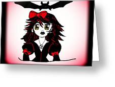 Little Goth Halloween Girl Greeting Card