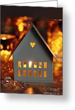 Little Gray House Lit With Candle For The Holidays Greeting Card