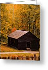 Little Greenbrier Schoolhouse In Autumn  Greeting Card