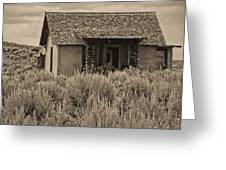 Little House In The Sage Bw Greeting Card