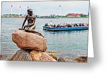 Little Mermaid Statue With Tourboat Greeting Card