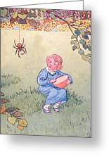 Little Miss Muffet Greeting Card by Leonard Leslie Brooke