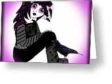 Little Purple Goth Girl Greeting Card