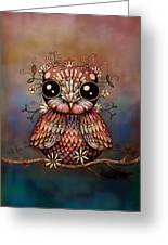 Little Rainbow Flower Owl Greeting Card