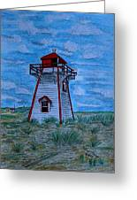 Little Red And White Lighthouse Greeting Card