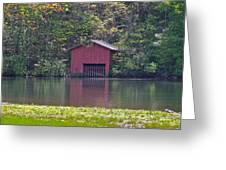 Little Red Boat House Greeting Card