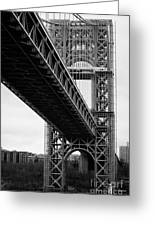 Little Red Lighthouse Beneath The George Washington Bridge Hudson River New York Nyc Greeting Card