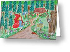 Little Red Riding Hood With Grandma's House On Mailbox Greeting Card